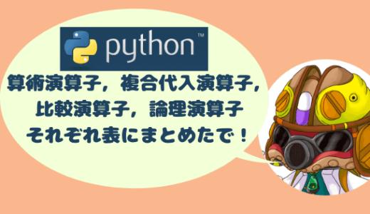 Pythonの基礎プログラム#5 算術演算子・比較演算子・複合代入演算子・論理演算子 一覧