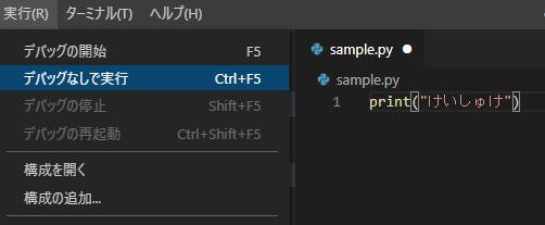 VSCodeの動作確認。コード入力後に,実行(R)→デバッグなしで実行を押す